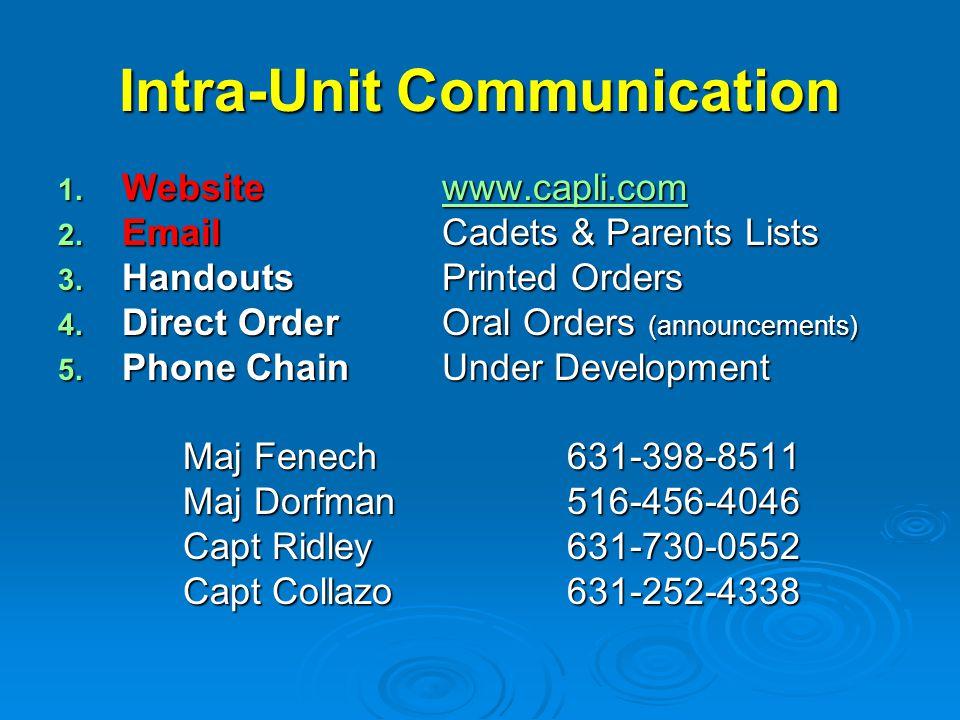 Intra-Unit Communication 1. Websitewww.capli.com www.capli.com 2. EmailCadets & Parents Lists 3. HandoutsPrinted Orders 4. Direct OrderOral Orders (an