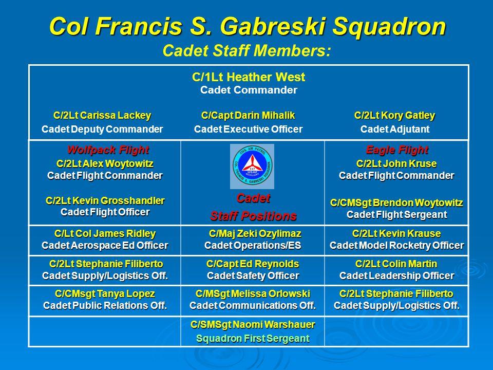 Col Francis S. Gabreski Squadron Col Francis S. Gabreski Squadron Cadet Staff Members: Wolfpack Flight Wolfpack Flight C/2Lt Alex Woytowitz Cadet Flig