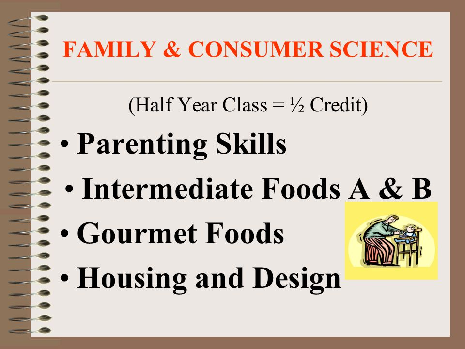 FAMILY & CONSUMER SCIENCE (Half Year Class = ½ Credit) Parenting Skills Intermediate Foods A & B Gourmet Foods Housing and Design