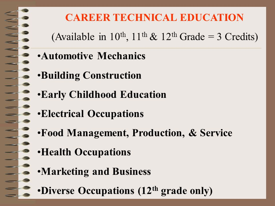 CAREER TECHNICAL EDUCATION (Available in 10 th, 11 th & 12 th Grade = 3 Credits) Automotive Mechanics Building Construction Early Childhood Education