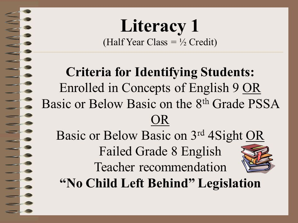 Literacy 1 (Half Year Class = ½ Credit) Criteria for Identifying Students: Enrolled in Concepts of English 9 OR Basic or Below Basic on the 8 th Grade