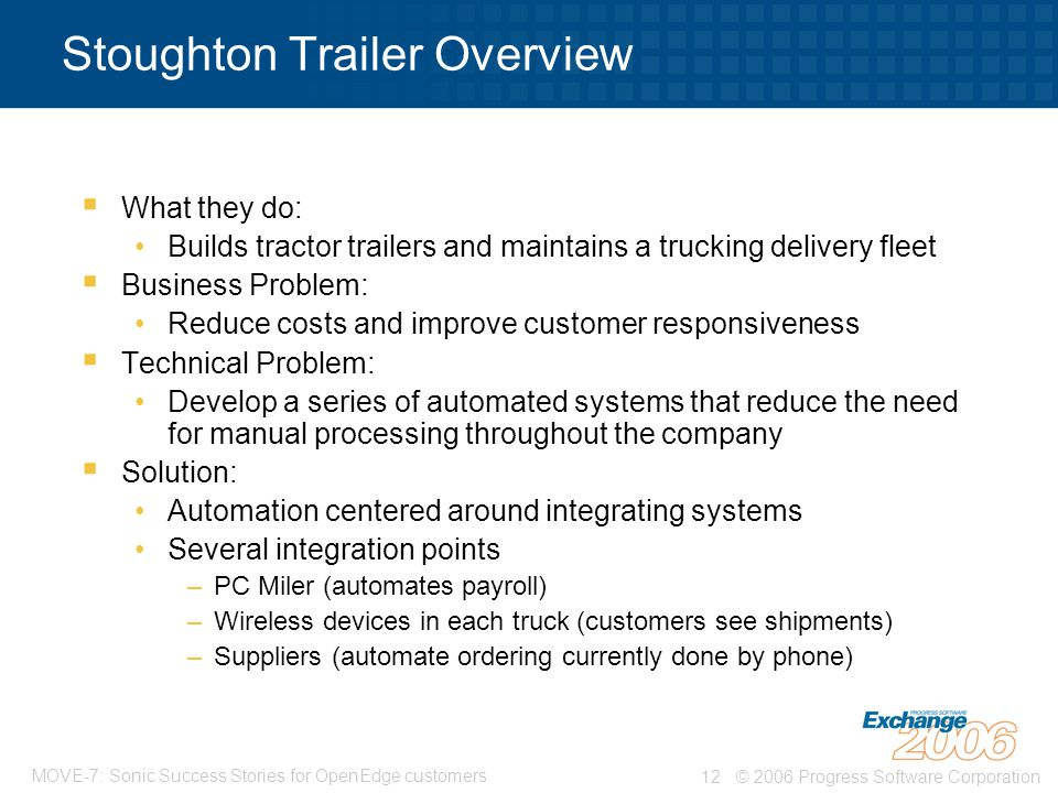© 2006 Progress Software Corporation12 MOVE-7: Sonic Success Stories for OpenEdge customers Stoughton Trailer Overview  What they do: Builds tractor trailers and maintains a trucking delivery fleet  Business Problem: Reduce costs and improve customer responsiveness  Technical Problem: Develop a series of automated systems that reduce the need for manual processing throughout the company  Solution: Automation centered around integrating systems Several integration points –PC Miler (automates payroll) –Wireless devices in each truck (customers see shipments) –Suppliers (automate ordering currently done by phone)