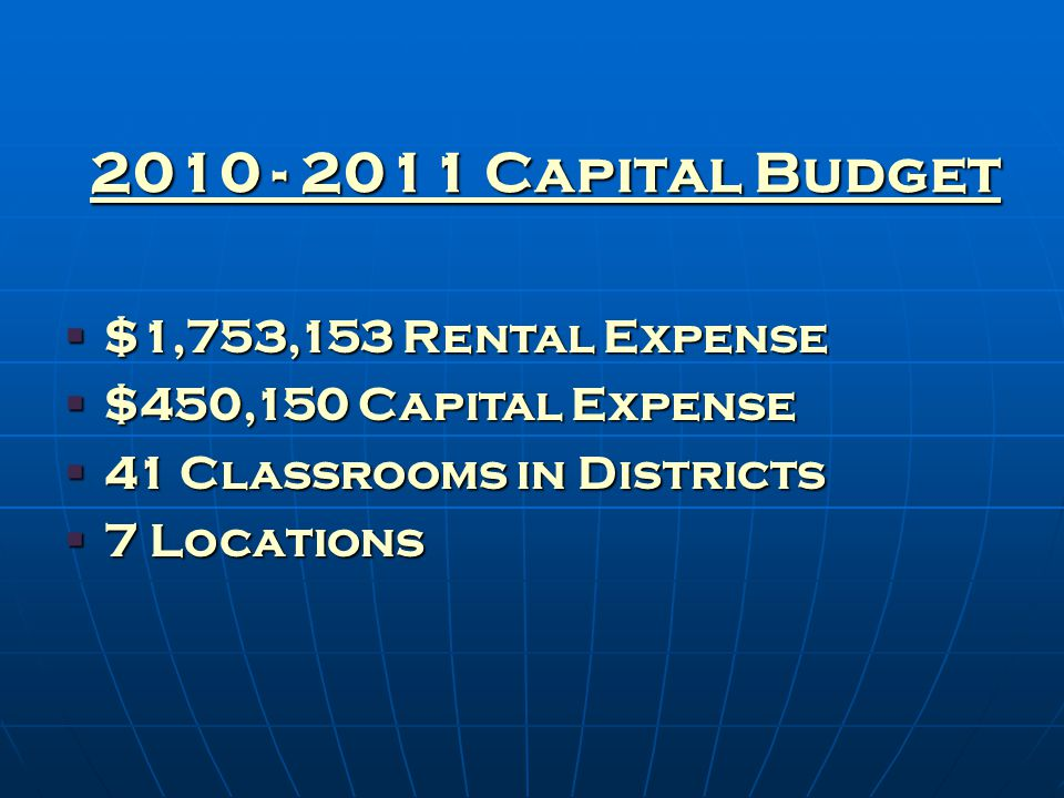 2010 - 2011 Capital Budget  $1,753,153 Rental Expense  $450,150 Capital Expense  41 Classrooms in Districts  7 Locations