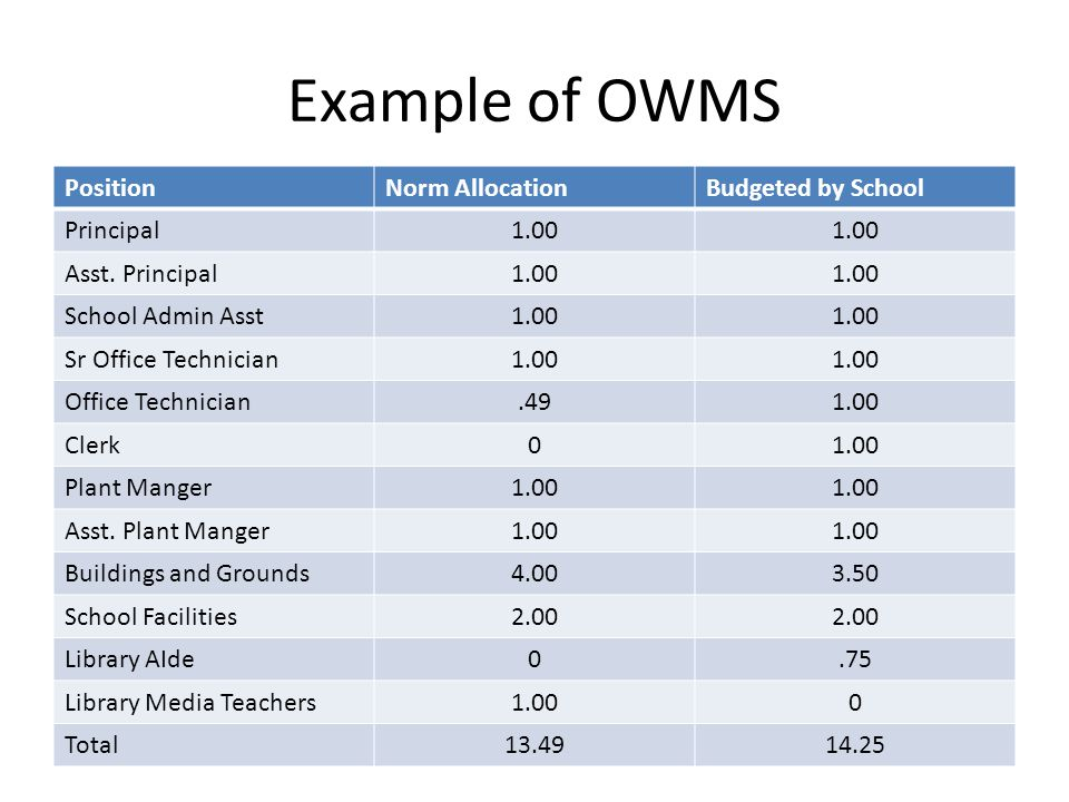 Example of OWMS PositionNorm AllocationBudgeted by School Principal1.00 Asst.