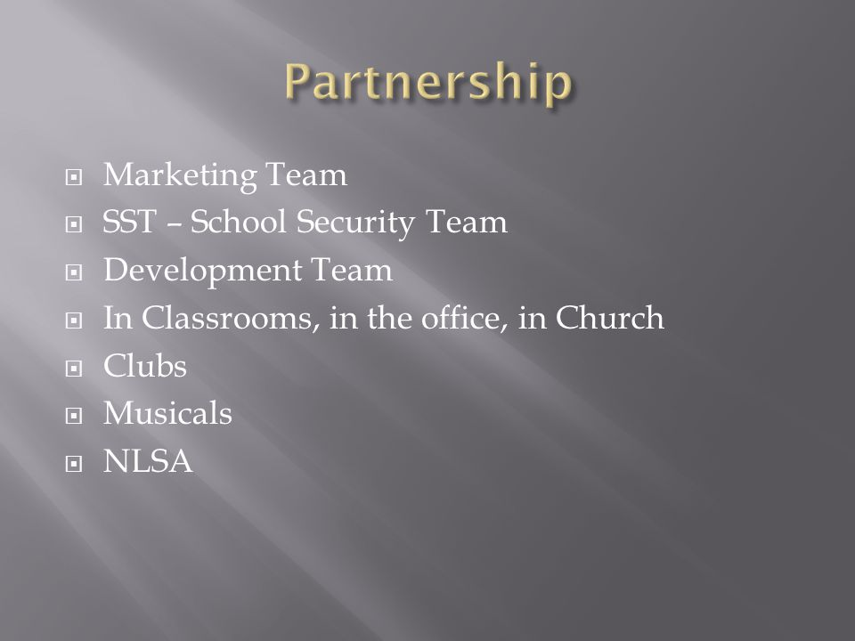  Marketing Team  SST – School Security Team  Development Team  In Classrooms, in the office, in Church  Clubs  Musicals  NLSA