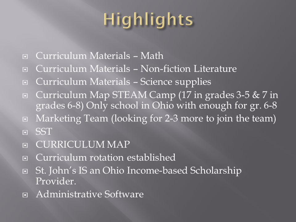  Curriculum Materials – Math  Curriculum Materials – Non-fiction Literature  Curriculum Materials – Science supplies  Curriculum Map STEAM Camp (1