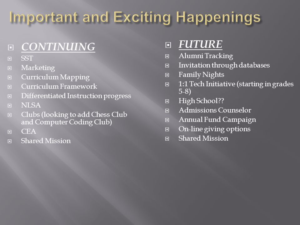  CONTINUING  SST  Marketing  Curriculum Mapping  Curriculum Framework  Differentiated Instruction progress  NLSA  Clubs (looking to add Chess Club and Computer Coding Club)  CEA  Shared Mission  FUTURE  Alumni Tracking  Invitation through databases  Family Nights  1:1 Tech Initiative (starting in grades 5-8)  High School .