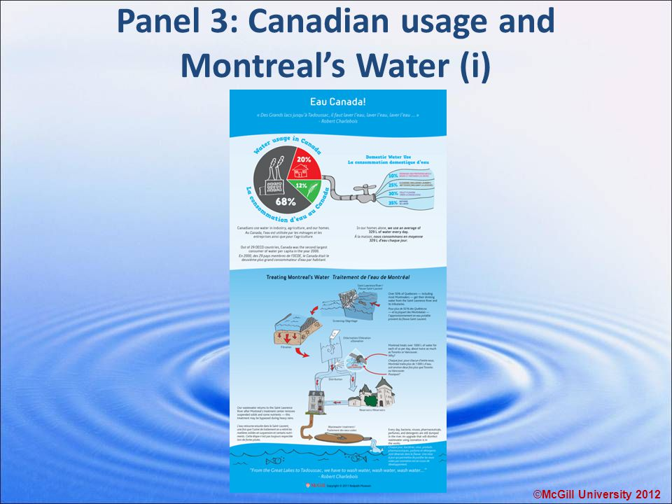 Panel 3: Canadian usage and Montreal's Water (i) ©McGill University 2012