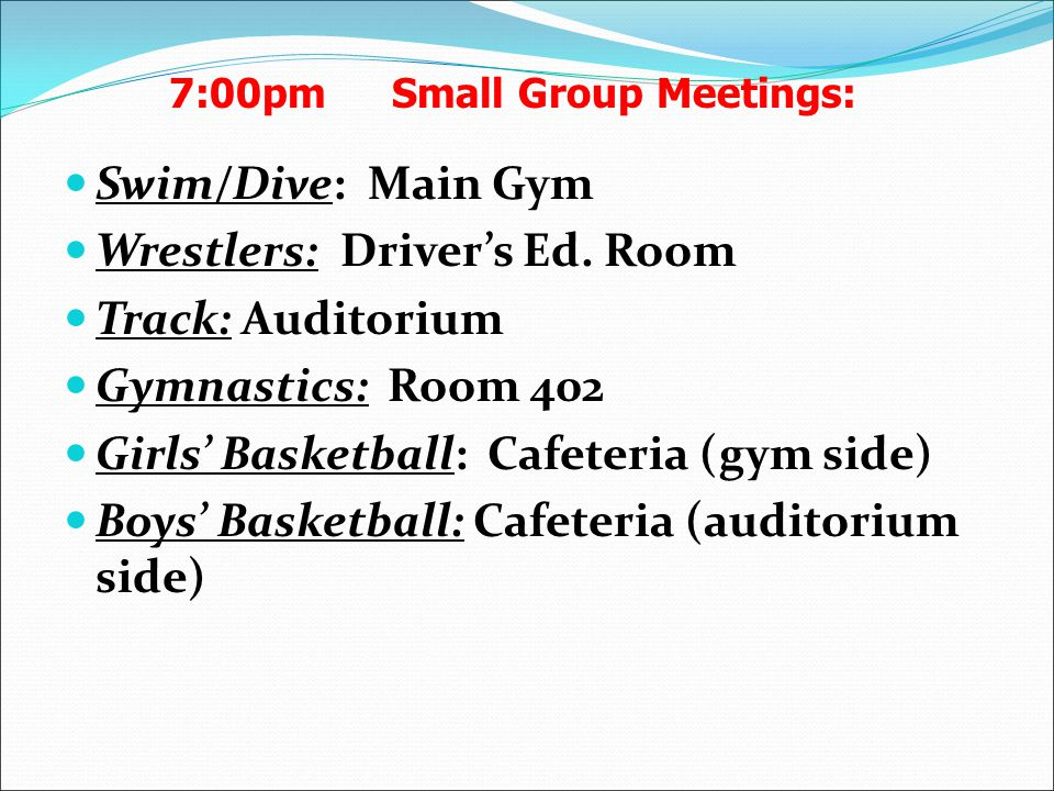 Swim/Dive: Main Gym Wrestlers: Driver's Ed.