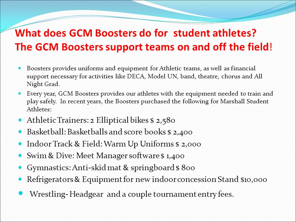 What does GCM Boosters do for student athletes.