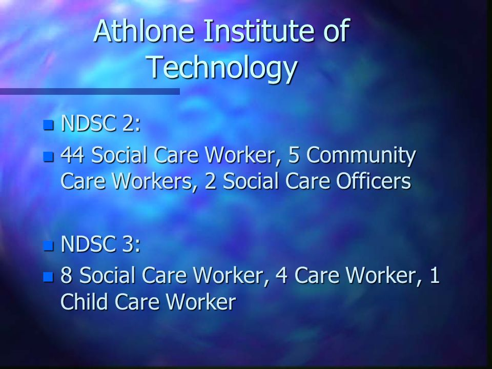 Athlone Institute of Technology n NDSC 2: n 44 Social Care Worker, 5 Community Care Workers, 2 Social Care Officers n NDSC 3: n 8 Social Care Worker,
