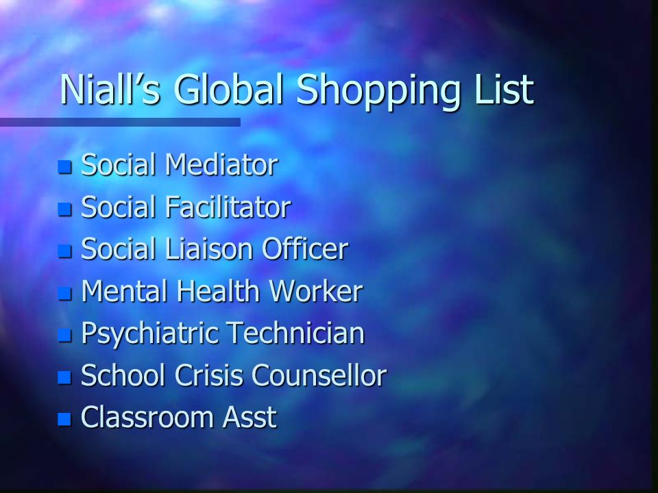 Niall's Global Shopping List n Social Mediator n Social Facilitator n Social Liaison Officer n Mental Health Worker n Psychiatric Technician n School
