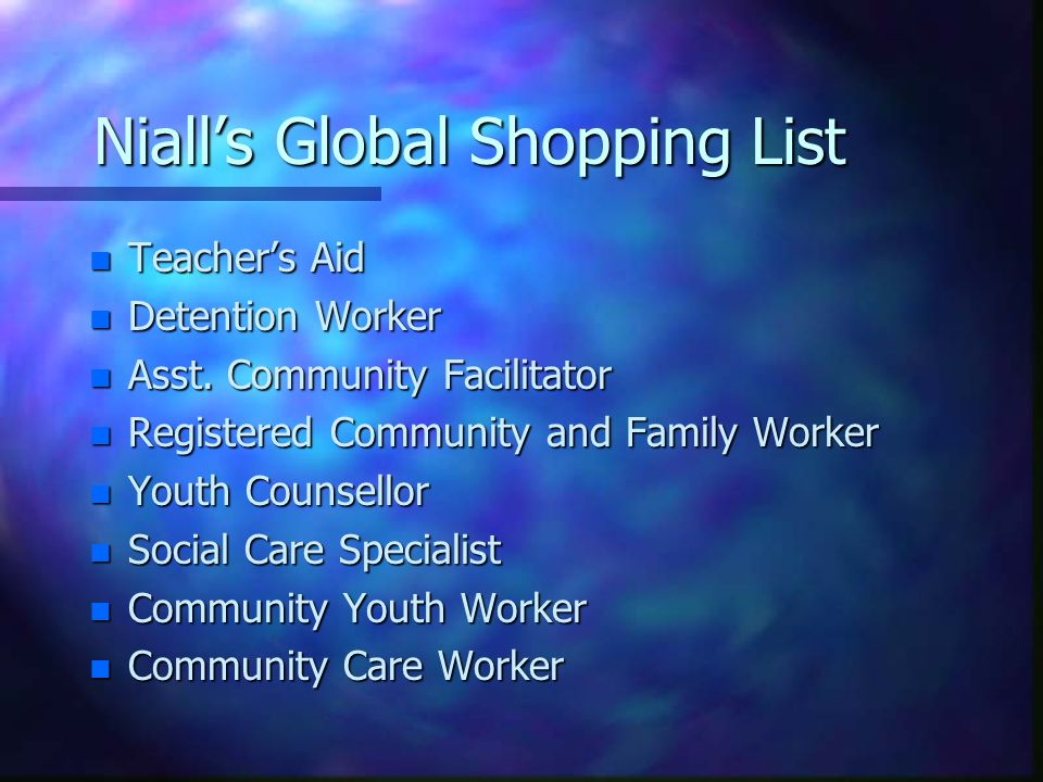 Niall's Global Shopping List n Teacher's Aid n Detention Worker n Asst. Community Facilitator n Registered Community and Family Worker n Youth Counsel