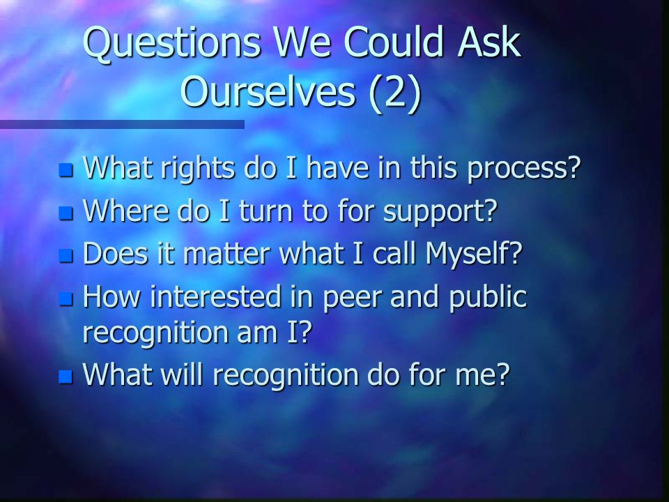 Questions We Could Ask Ourselves (3) n What should the IACW concentrate on.