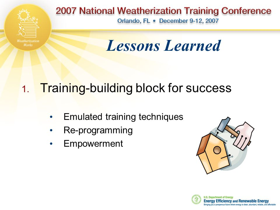 Lessons Learned  Training-building block for success Emulated training techniques Re-programming Empowerment