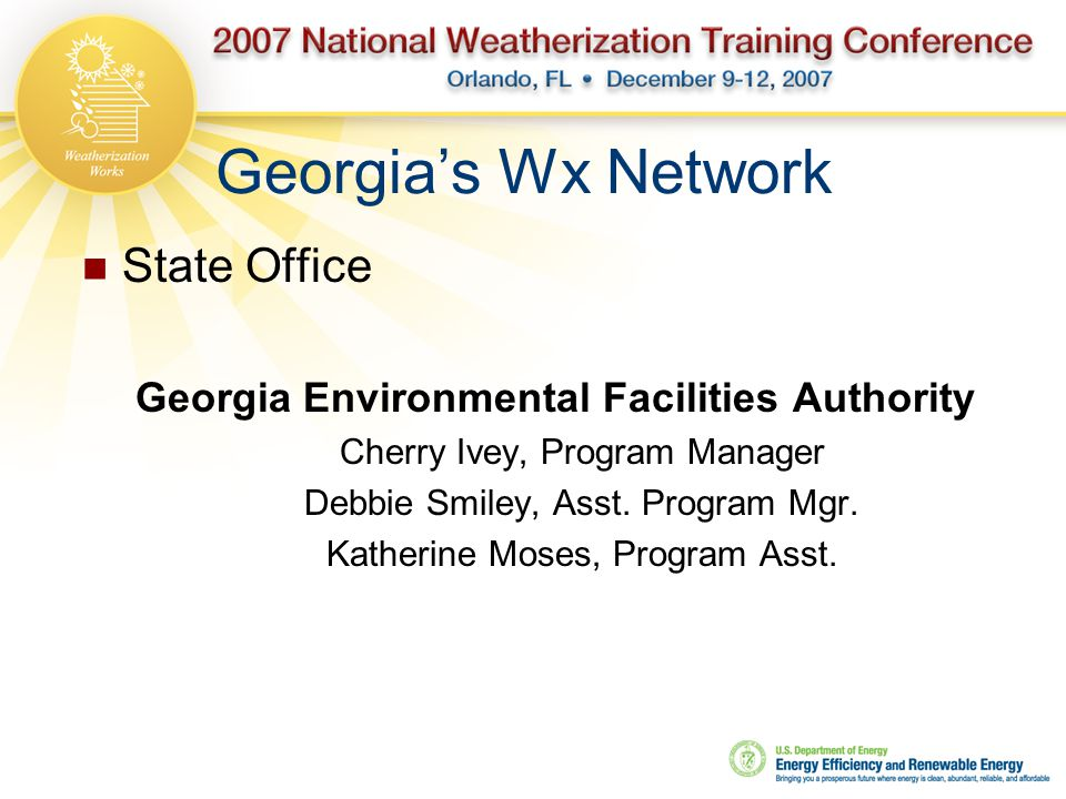 Georgia's Wx Network State Office Georgia Environmental Facilities Authority Cherry Ivey, Program Manager Debbie Smiley, Asst. Program Mgr. Katherine