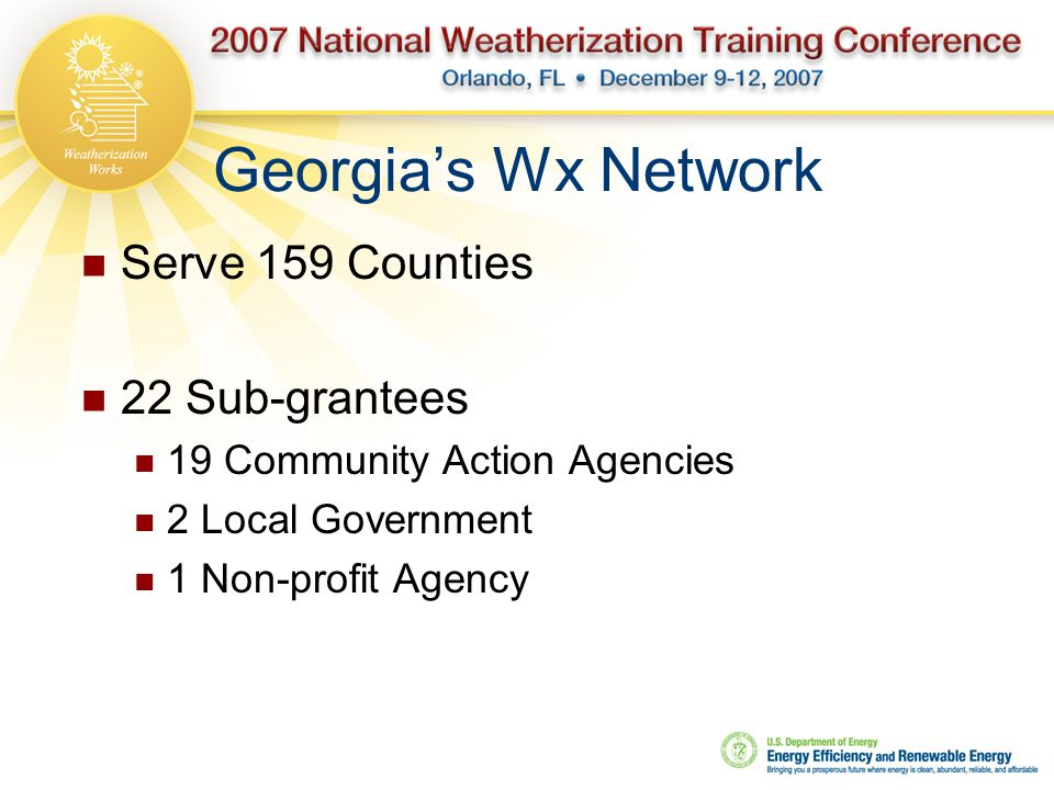 Georgia's Wx Network Serve 159 Counties 22 Sub-grantees 19 Community Action Agencies 2 Local Government 1 Non-profit Agency
