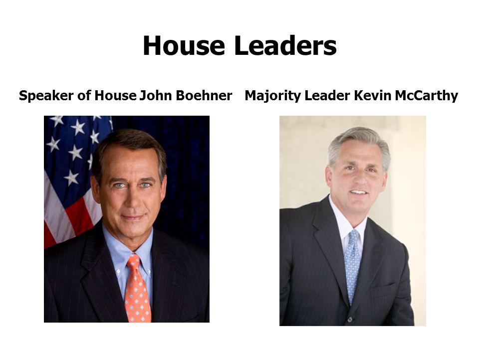 House Leaders Speaker of House John Boehner Majority Leader Kevin McCarthy