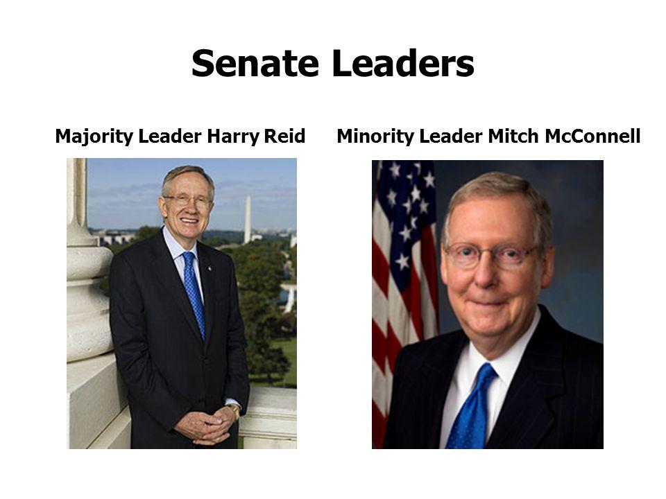 Senate Leaders Majority Leader Harry ReidMinority Leader Mitch McConnell