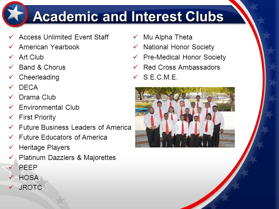 Academic and Interest Clubs Access Unlimited Event Staff American Yearbook Art Club Band & Chorus Cheerleading DECA Drama Club Environmental Club Firs