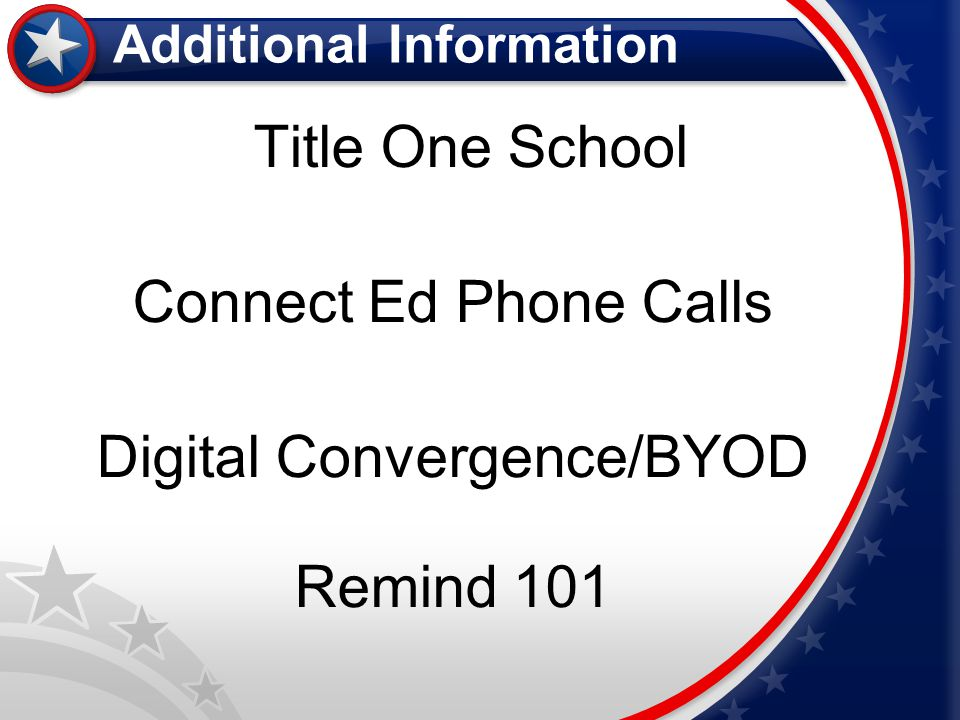 Title One School Connect Ed Phone Calls Digital Convergence/BYOD Remind 101 Additional Information