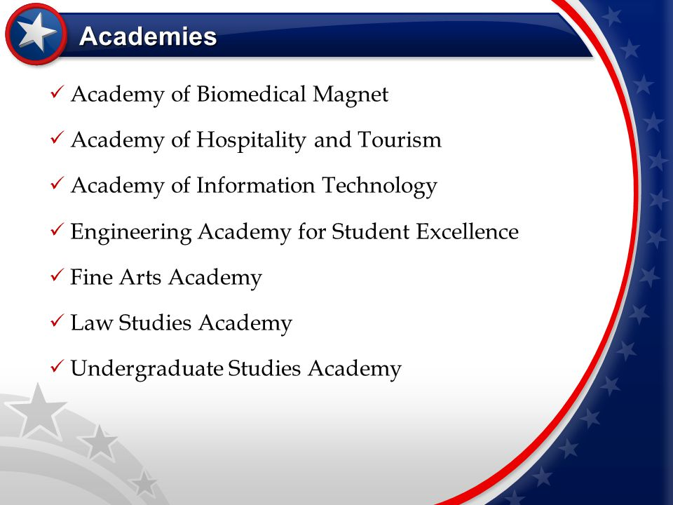 Academies Academy of Biomedical Magnet Academy of Hospitality and Tourism Academy of Information Technology Engineering Academy for Student Excellence