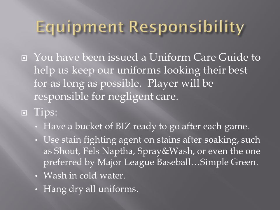  You have been issued a Uniform Care Guide to help us keep our uniforms looking their best for as long as possible.