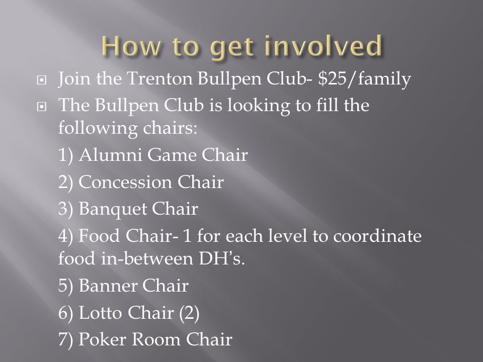  Join the Trenton Bullpen Club- $25/family  The Bullpen Club is looking to fill the following chairs: 1) Alumni Game Chair 2) Concession Chair 3) Banquet Chair 4) Food Chair- 1 for each level to coordinate food in-between DH's.