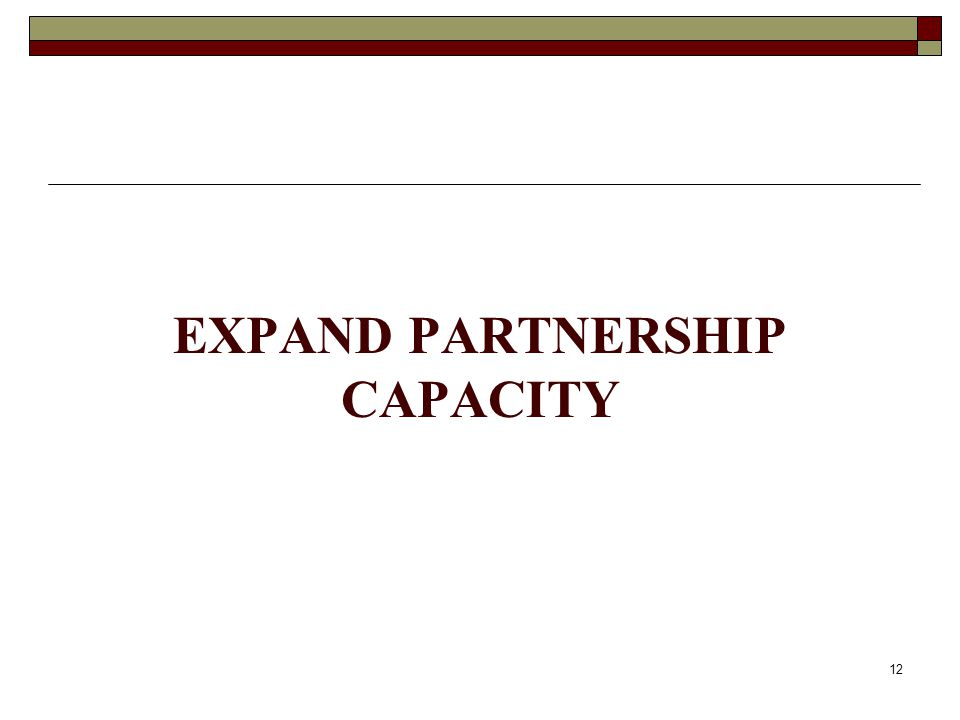 EXPAND PARTNERSHIP CAPACITY 12