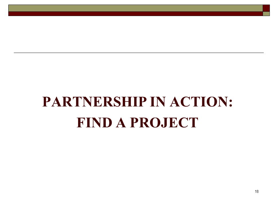 PARTNERSHIP IN ACTION: FIND A PROJECT 18