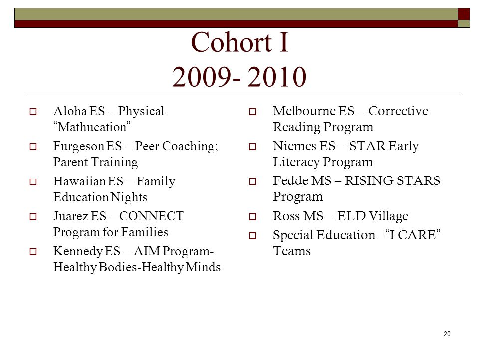 Cohort I 2009- 2010  Aloha ES – Physical Mathucation  Furgeson ES – Peer Coaching; Parent Training  Hawaiian ES – Family Education Nights  Juarez ES – CONNECT Program for Families  Kennedy ES – AIM Program- Healthy Bodies-Healthy Minds  Melbourne ES – Corrective Reading Program  Niemes ES – STAR Early Literacy Program  Fedde MS – RISING STARS Program  Ross MS – ELD Village  Special Education – I CARE Teams 20
