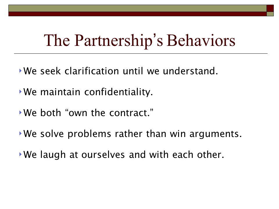 The Partnership's Behaviors  We seek clarification until we understand.