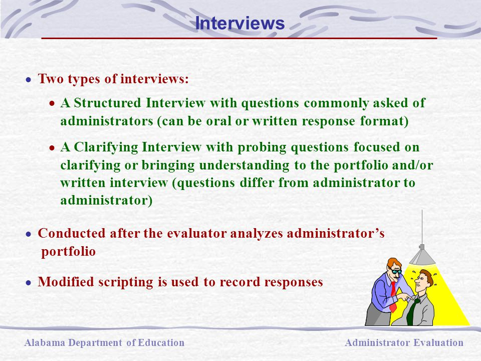  Two types of interviews:  A Structured Interview with questions commonly asked of administrators (can be oral or written response format)  A Clari