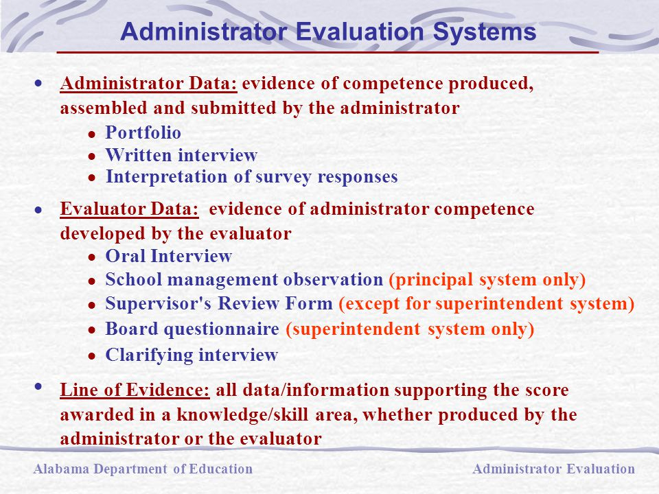 Administrator Data: evidence of competence produced, assembled and submitted by the administrator  Portfolio  Written interview  Interpretation of