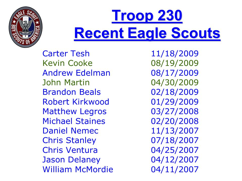 Troop 230 Recent Eagle Scouts Carter Tesh 11/18/2009 Kevin Cooke08/19/2009 Andrew Edelman08/17/2009 John Martin04/30/2009 Brandon Beals02/18/2009 Robert Kirkwood01/29/2009 Matthew Legros03/27/2008 Michael Staines02/20/2008 Daniel Nemec11/13/2007 Chris Stanley07/18/2007 Chris Ventura04/25/2007 Jason Delaney04/12/2007 William McMordie04/11/2007