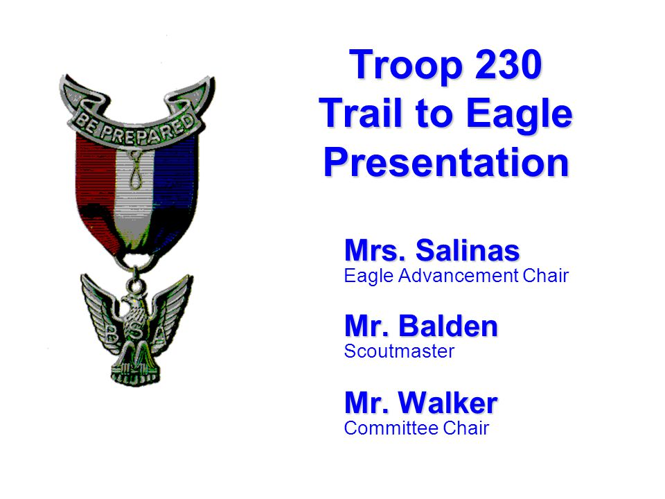 Mrs. Salinas Eagle Advancement Chair Mr. Balden Scoutmaster Mr.