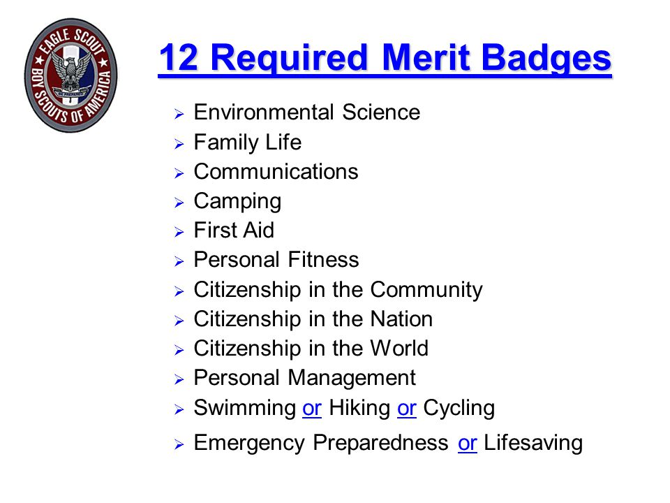 12 Required Merit Badges  Environmental Science  Family Life  Communications  Camping  First Aid  Personal Fitness  Citizenship in the Communit