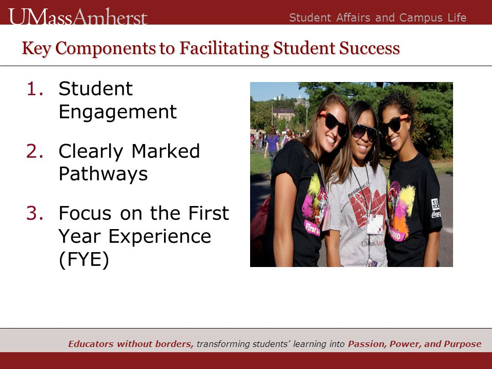Educators without borders, transforming students' learning into Passion, Power, and Purpose Student Affairs and Campus Life Key Components to Facilitating Student Success 1.Student Engagement 2.Clearly Marked Pathways 3.Focus on the First Year Experience (FYE)