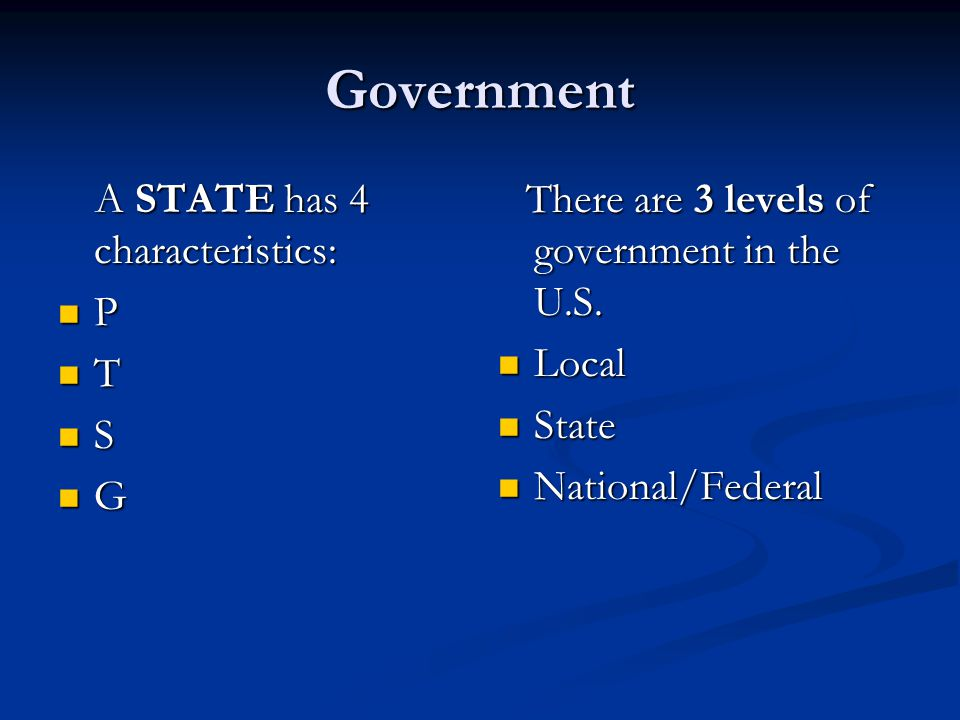 Government A STATE has 4 characteristics: A STATE has 4 characteristics: P T S G There are 3 levels of government in the U.S. Local State National/Fed