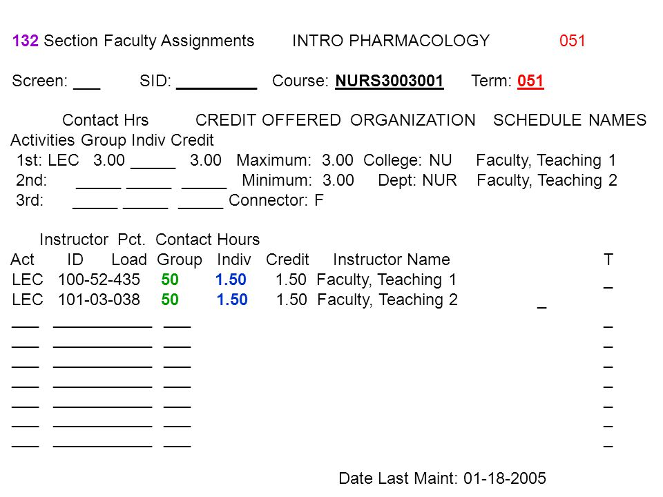 132 Section Faculty Assignments INTRO PHARMACOLOGY 051 Screen: ___ SID: _________ Course: NURS3003001 Term: 051 Contact Hrs CREDIT OFFERED ORGANIZATIO