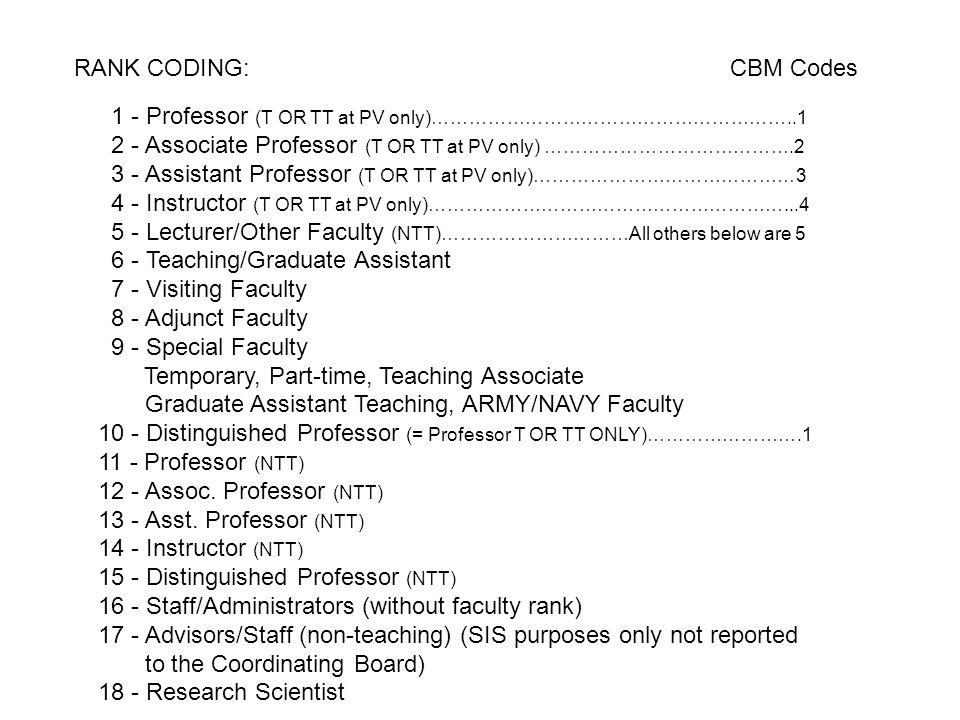 1 - Professor (T OR TT at PV only)…………………………………………………..1 2 - Associate Professor (T OR TT at PV only) ………………………………….2 3 - Assistant Professor (T OR TT