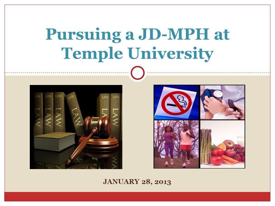JANUARY 28, 2013 Pursuing a JD-MPH at Temple University