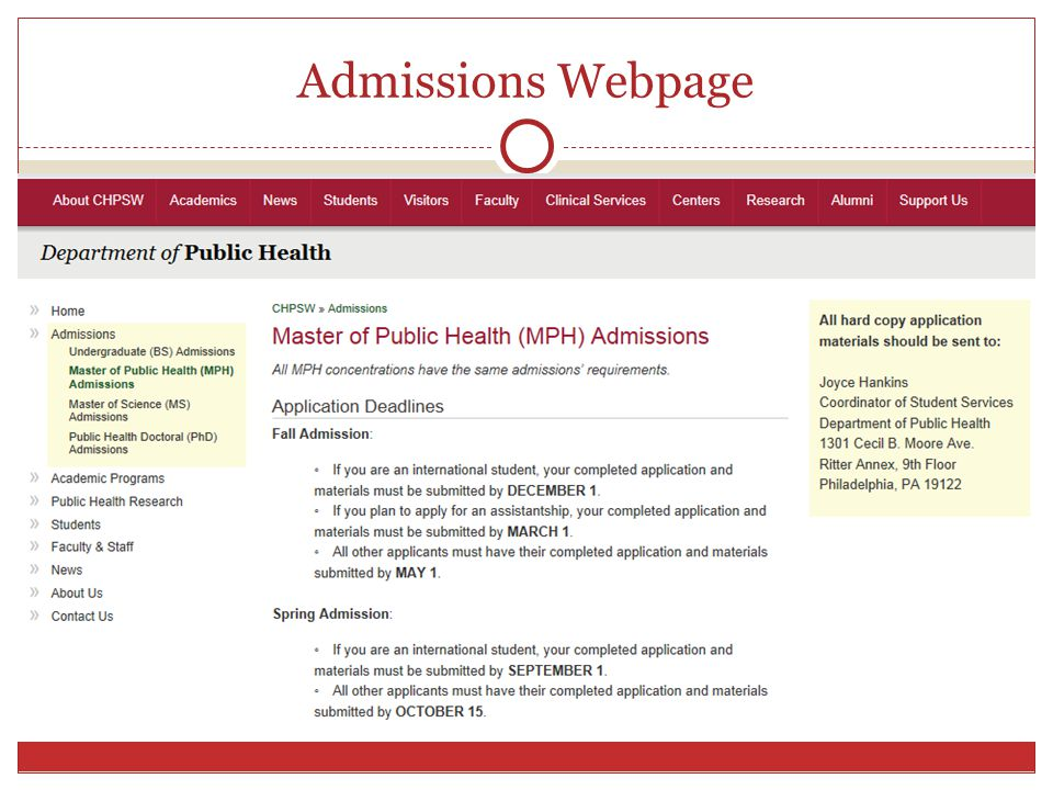 Admissions Webpage