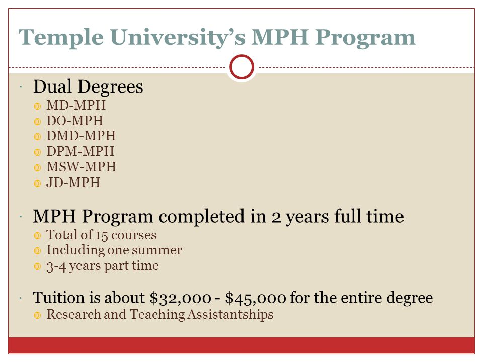Temple University's MPH Program  Dual Degrees  MD-MPH  DO-MPH  DMD-MPH  DPM-MPH  MSW-MPH  JD-MPH  MPH Program completed in 2 years full time  Total of 15 courses  Including one summer  3-4 years part time  Tuition is about $32,000 - $45,000 for the entire degree  Research and Teaching Assistantships