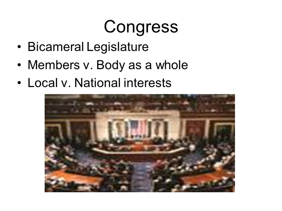Congress Bicameral Legislature Members v. Body as a whole Local v. National interests