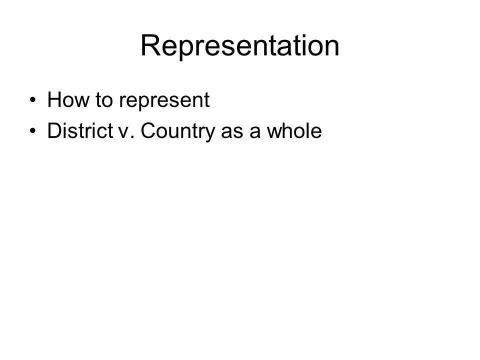 Representation How to represent District v. Country as a whole