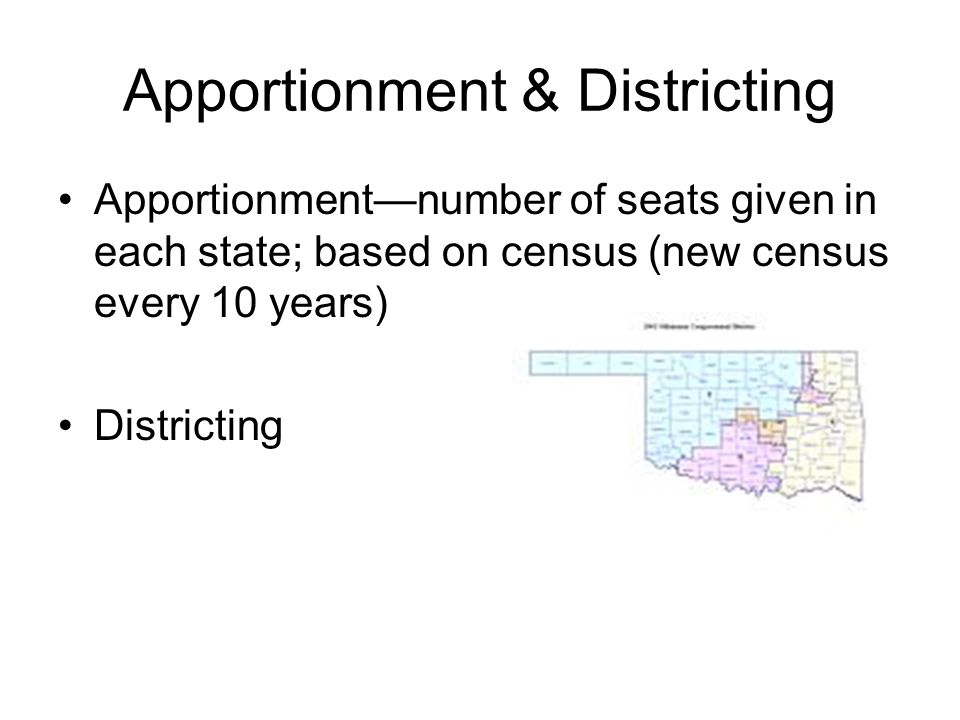 Apportionment & Districting Apportionment—number of seats given in each state; based on census (new census every 10 years) Districting