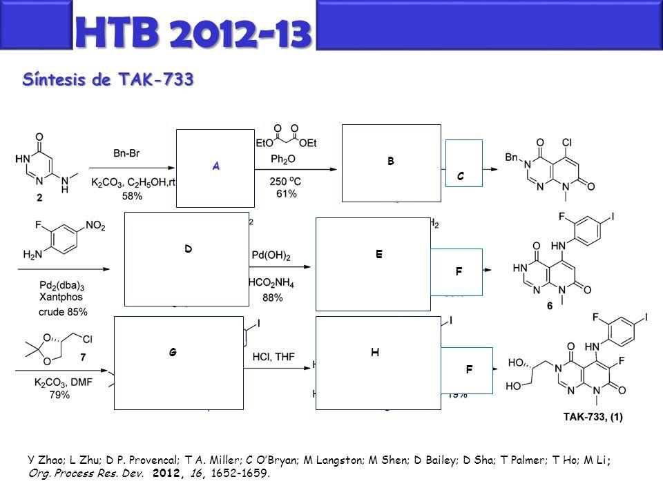 Síntesis de TAK-733 HTB 2012-13 Y Zhao; L Zhu; D P. Provencal; T A. Miller; C O'Bryan; M Langston; M Shen; D Bailey; D Sha; T Palmer; T Ho; M Li; Org.