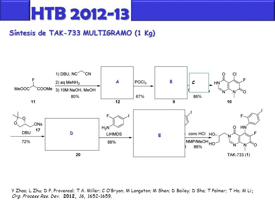 Síntesis de TAK-733 MULTIGRAMO (1 Kg) HTB 2012-13 Y Zhao; L Zhu; D P. Provencal; T A. Miller; C O'Bryan; M Langston; M Shen; D Bailey; D Sha; T Palmer