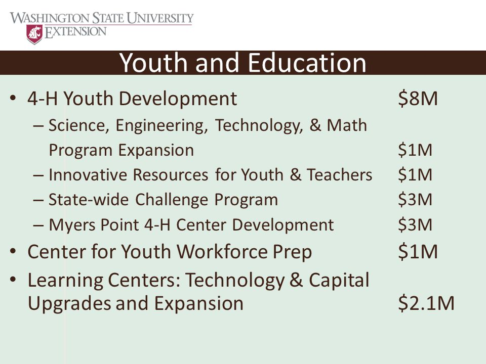 Youth and Education 4-H Youth Development$8M – Science, Engineering, Technology, & Math Program Expansion$1M – Innovative Resources for Youth & Teachers$1M – State-wide Challenge Program $3M – Myers Point 4-H Center Development$3M Center for Youth Workforce Prep$1M Learning Centers: Technology & Capital Upgrades and Expansion$2.1M